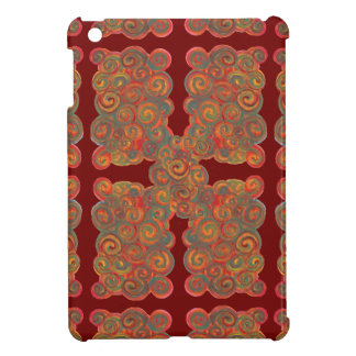 orange red paint swirls i-pad mini case cover for the iPad mini