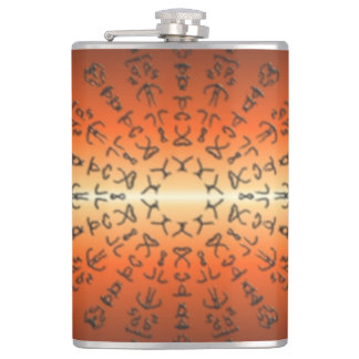 Orange/red Pattern with strange sign Hip Flask