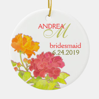 Orange Red Peony Wedding Bridesmaids Gift Round Ceramic Decoration
