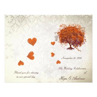 Orange Red Plum Heart Leaf Tree Wedding Program 21.5 Cm X 28 Cm Flyer