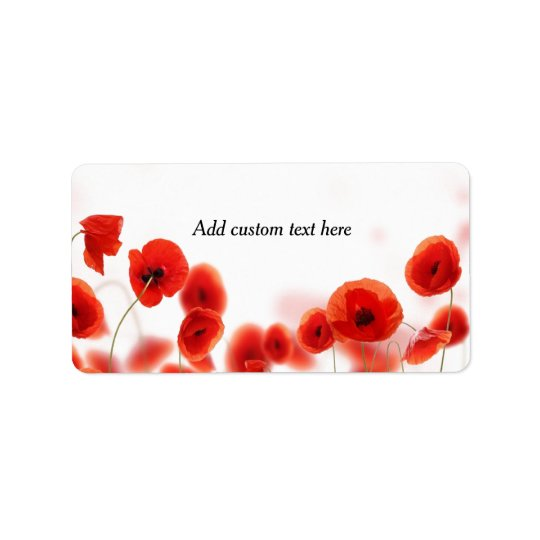 Orange Red Poppy Flowers on White Address Label