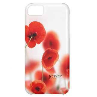 Orange Red Poppy Flowers on White Personalized iPhone 5C Case