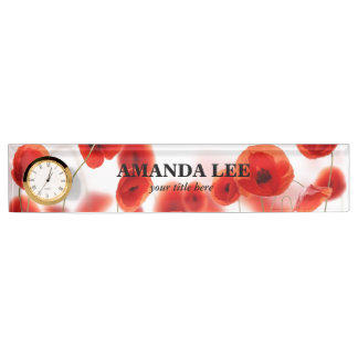 Orange Red Poppy Flowers on White Personalized Nameplate