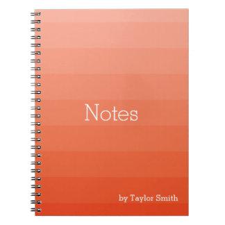 Orange Red Shades Horizontal Stripes Youthful Note Books