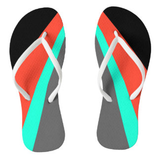 Orange Red Turquoise Gray Black Pattern Flip Flops