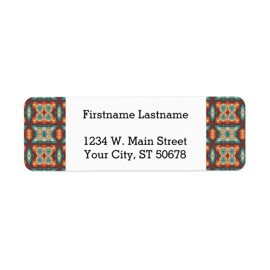 Orange Red Turquoise Rustic Cabin Mosaic Pattern Return Address Label