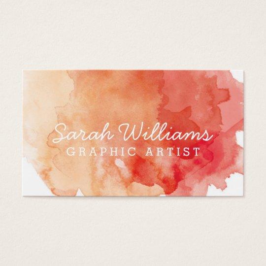 Orange + Red Watercolor Business Card