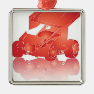 Orange Reflection Winged Sprint Car Christmas Ornament
