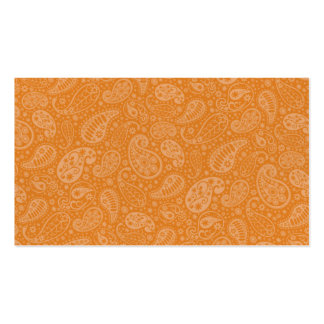 Orange Retro Floral Paisley Pack Of Standard Business Cards