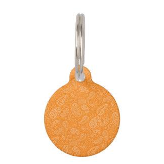 Orange Retro Floral Paisley Pet ID Tag