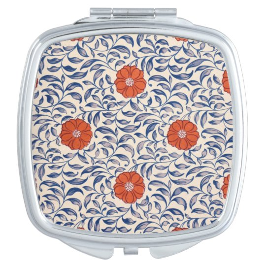 Orange retro flowers mirrors for makeup
