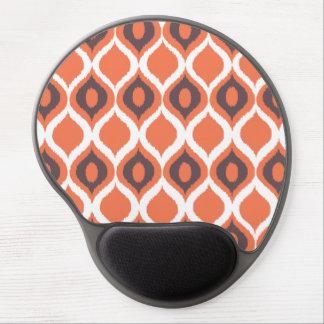 Orange Retro Geometric Ikat Tribal Print Pattern Gel Mouse Pad