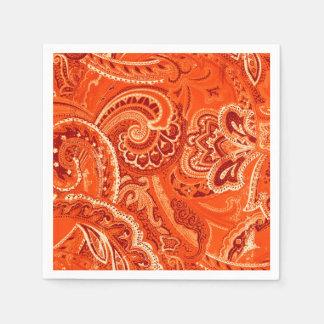 Orange Retro Paisley Bandanna/Bandana Disposable Serviette