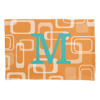 Orange retro print monogrammed pillowcase