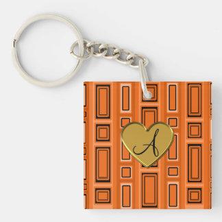 Orange retro squares monogram square acrylic key chains