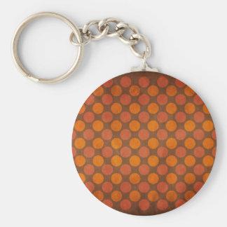 Orange retro vintage dots pattern key chain