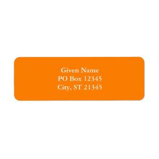 Orange Return Address Label