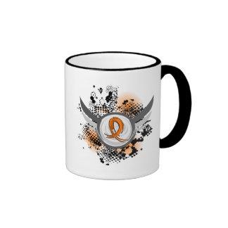 Orange Ribbon And Wings Multiple Sclerosis Ringer Mug
