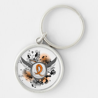 Orange Ribbon And Wings Multiple Sclerosis Silver-Colored Round Key Ring