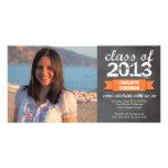 Orange ribbon banner chalkboard photo graduation photo cards