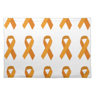 ORANGE RIBBON CAUSES ANIMALS MOTIVATIONAL SUPPORT PLACE MATS