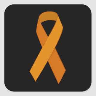 ORANGE RIBBON CAUSES ANIMALS MOTIVATIONAL SUPPORT SQUARE STICKERS