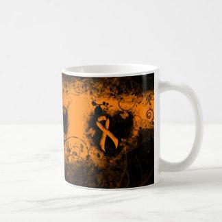Orange Ribbon Grunge Heart Coffee Mug