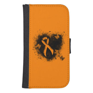 Orange Ribbon Grunge Heart Samsung S4 Wallet Case