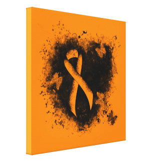 Orange Ribbon Grunge Heart Stretched Canvas Print