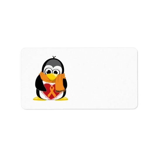 Orange Ribbon Penguin Scarf Label