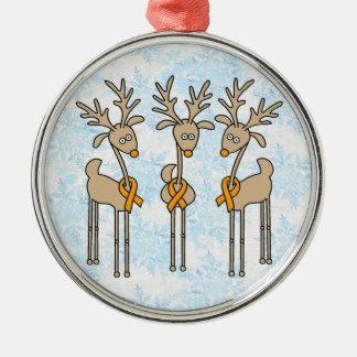 Orange Ribbon Reindeer Christmas Ornament