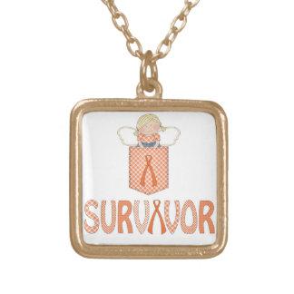 Orange Ribbon SURVIVOR charm necklace Leukemia RSD