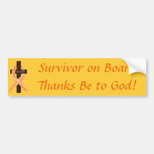 Orange Ribbon Survivor on Board bumper sticker
