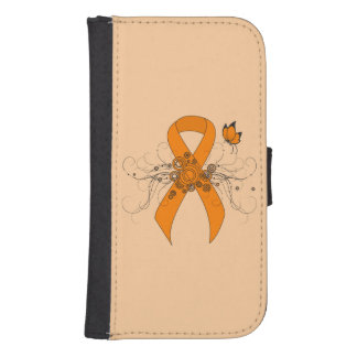 Orange Ribbon with Butterfly Samsung S4 Wallet Case