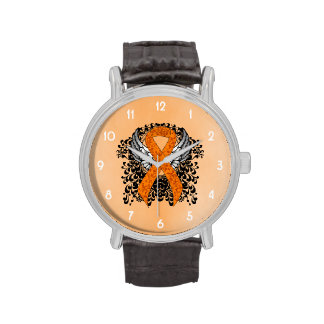 Orange Ribbon with Wings Watches
