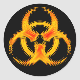 Orange Ripple Biohazard Symbol Sticker