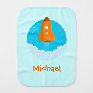 Orange Rocketship Burp Cloth