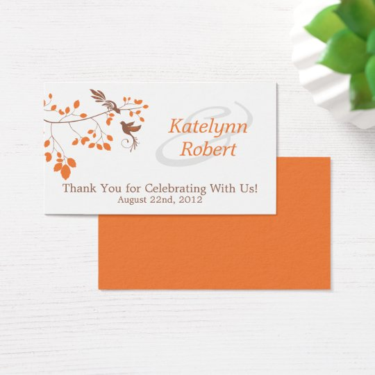 Orange Romance Wedding Favour Tags
