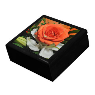 Orange rose and a butterfly necklace gift boxes