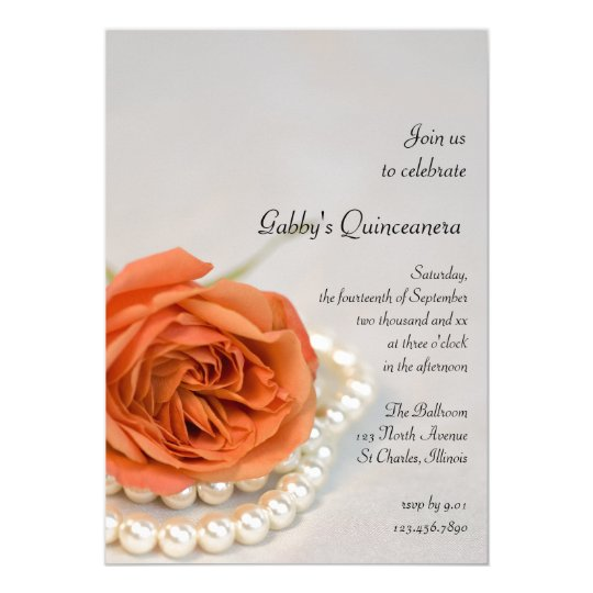 Orange Rose and Pearl Quinceanera Party Invitation