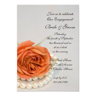 """Orange Rose and Pearls Engagement Party Invitation 5"""" X 7"""" Invitation Card"""