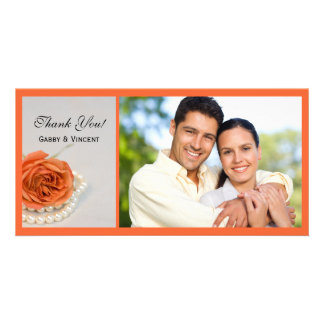 Orange Rose and White Pearls Wedding Thank You Customized Photo Card