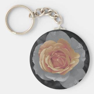 Orange rose blossoms print key chain