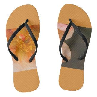 Orange rose flip flops