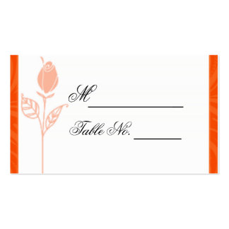 Orange Rose Graphic Wedding Place Card Business Cards