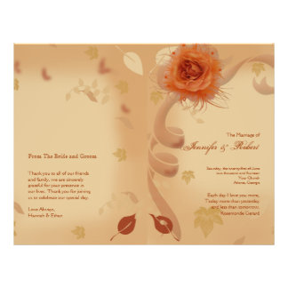 Orange Rose in the Fall Wedding Program 21.5 Cm X 28 Cm Flyer