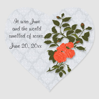 Orange Rose on Light Blue Lace Look Background Heart Sticker