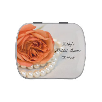 Orange Rose Pearls Bridal Shower Favor Jelly Belly Candy Tin