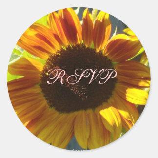 Orange Rose Sunflower Round Sticker