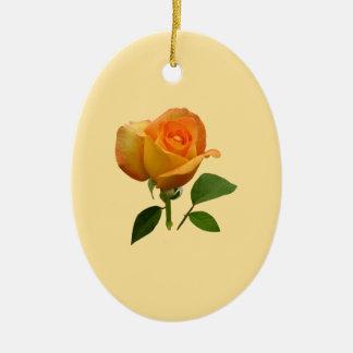 Orange Rosebud Christmas Ornament